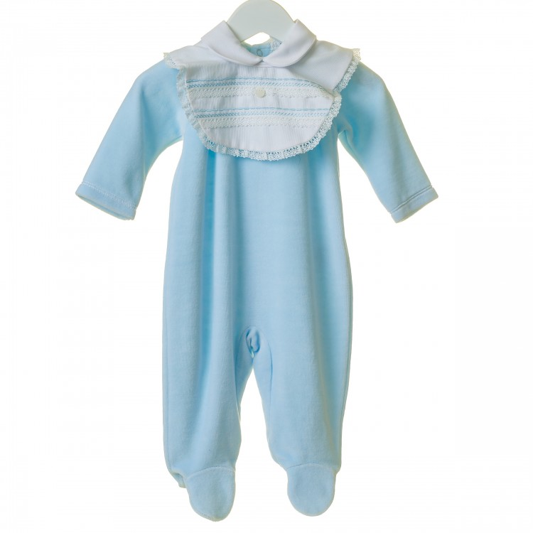 TT0193 'BLUES BABY' BLUE REMOVABLE PIQUE BIB VELOUR SUIT