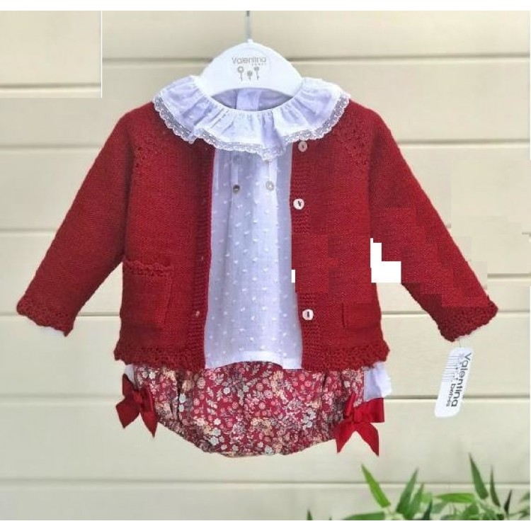 WT19118 'VALENTINA' DITZY CHERRY RED JAM PANTS & CARDIGAN with FRILL BLOUSE