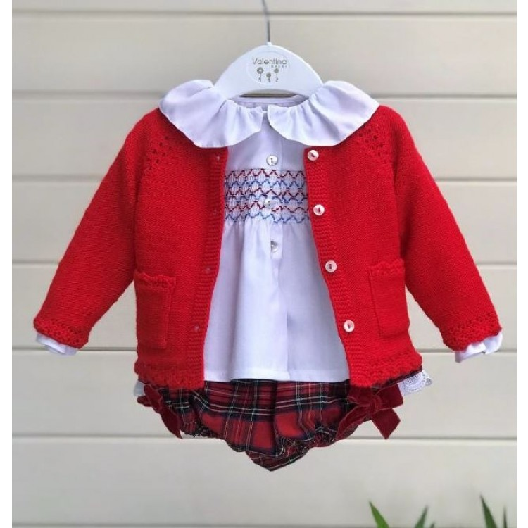 WT19129 'VALENTINA' RED TARTAN JAM PANTS & CARDIGAN with FRILL SMOCKED BLOUSE